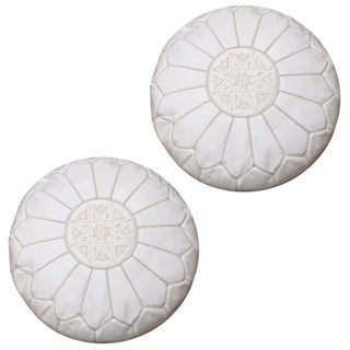 White Moroccan Unstuffed Ottomans - Pair For Sale