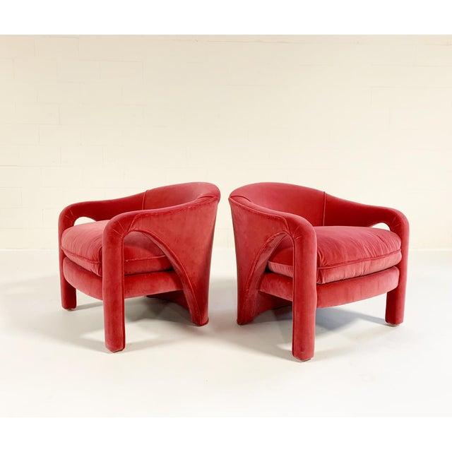 Vintage Vladimir Kagan Style Lounge Chairs Restored in Loro Piana Pink Velvet - Pair For Sale - Image 9 of 9