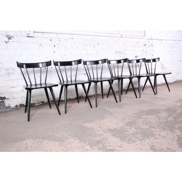 Contemporary Paul McCobb Ebonized Planner Group Dining Chairs, Set of Six For Sale - Image 3 of 9