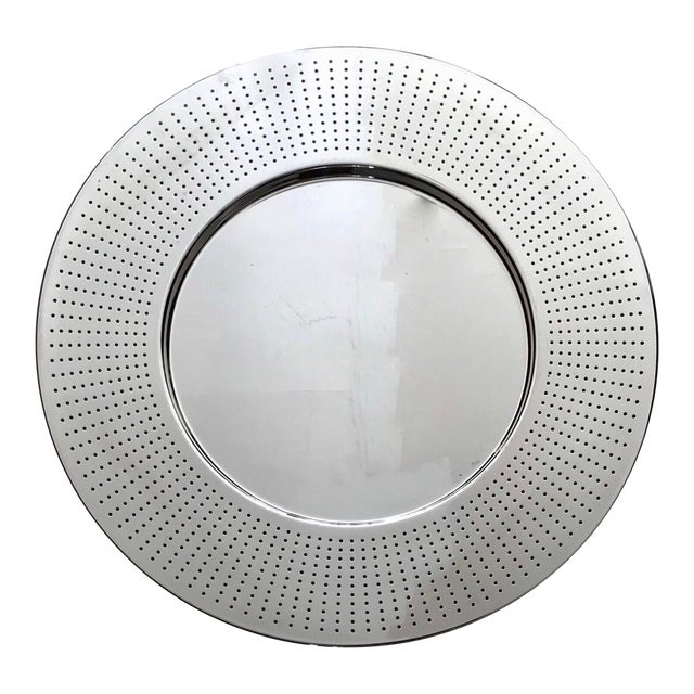 Alessi Round Polished Stainless Steel Tray For Sale
