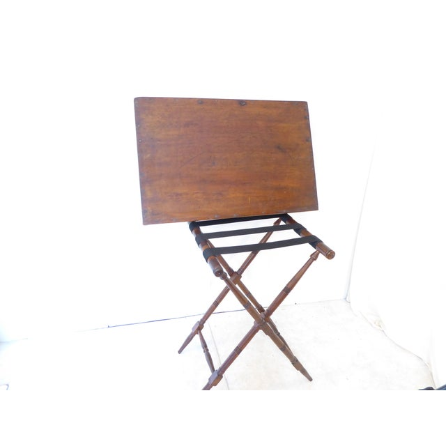 Campaign 19th Century English Mahogany Butlers Tray on Stand For Sale - Image 3 of 5