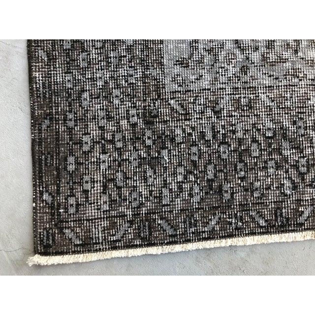 1960s Vintage Turkish Distressed Gray Carpet - 5′4″ × 9′6″ For Sale - Image 9 of 11