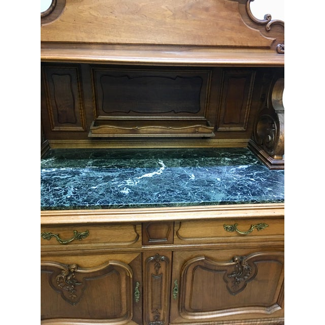 19th Century French Server Sideboard Hand Carved With Marble Top For Sale - Image 4 of 11