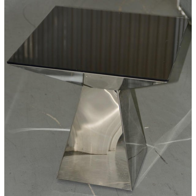 Contemporary 1970s Geometric Chrome & Smokey Glass Top Side Table For Sale - Image 3 of 4