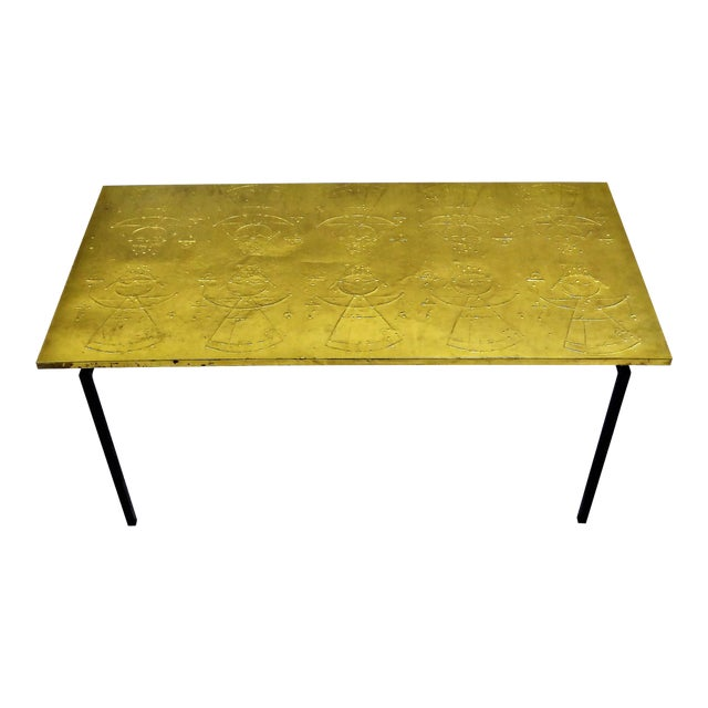 MidCentury Modern Raymor Scandinavian Repousse Brass Coffee Table 1960s For Sale