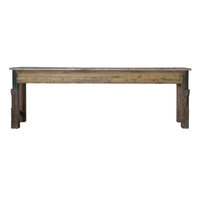 Vintage Reclaimed Wood Teak Indian Console For Sale
