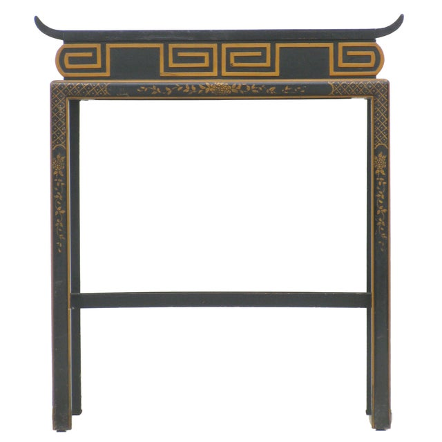 Asian Chinoiserie Black Lacquer Accent Table For Sale - Image 3 of 6