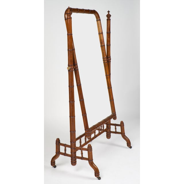 "Aesthetic Movement Napoleon III Faux Bamboo ""Psyche"" Mirror For Sale - Image 3 of 10"