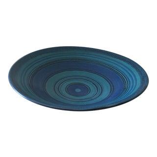 1950s Glidden Pottery Gulfstream Blue Monumental Stoneware Bowl For Sale