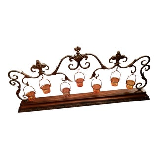 3 Ft Wide, Large Metal Scroll Centerpiece or Mantle Candelabra Votive Display For Sale