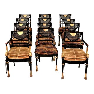 Set of 12 Circa 1910 Empire Style Black Lacquered Gilded Chairs For Sale