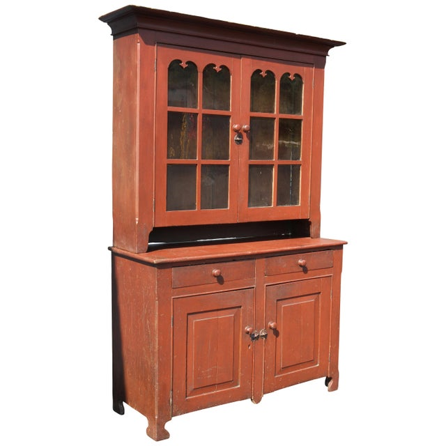 American Red Painted Two Part Cupboard For Sale - Image 10 of 10