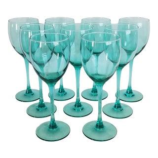 Late 20th Century Luminarc Aqua Teal Wine Glasses - Set of 9 For Sale