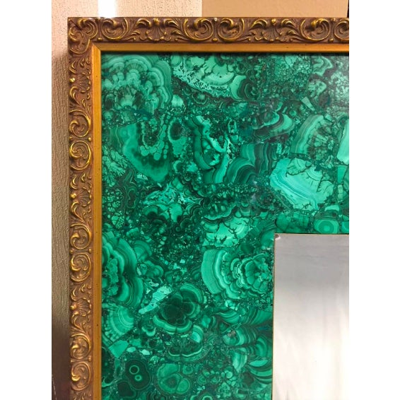 Modern Burl Malachite Veneered Mirror For Sale - Image 3 of 7