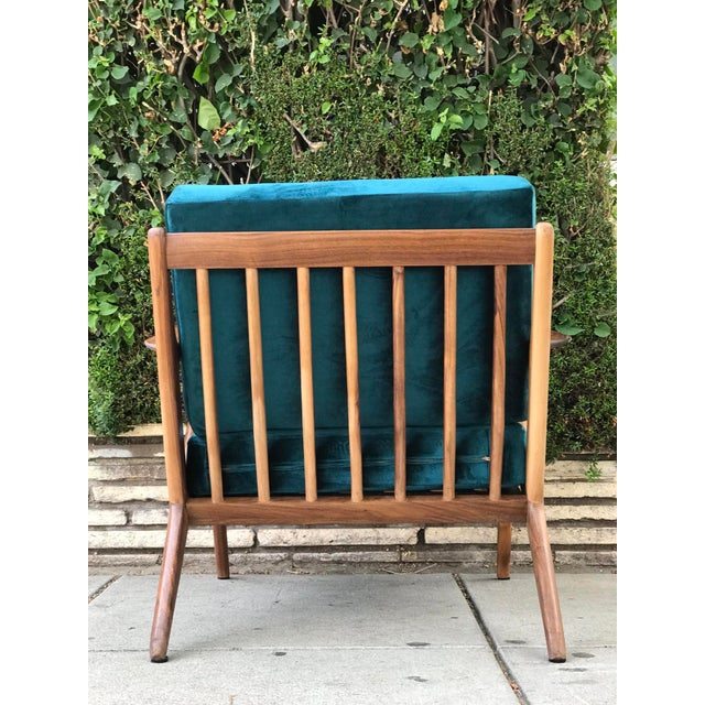 Mid Century Z Chair in Peacock Jade For Sale - Image 4 of 13