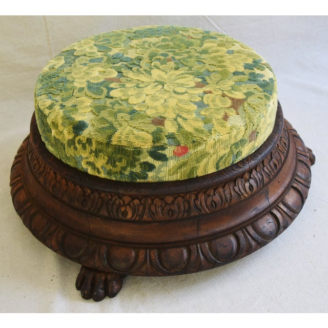 Early Carved 1900s Foot Stool w/ Scalamandre Marly Velvet Fabric - Image 10 of 11