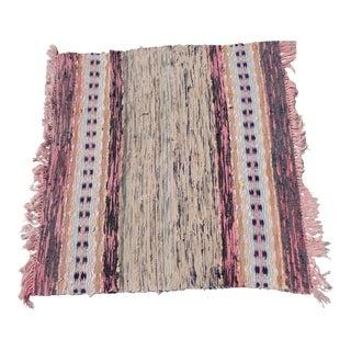 """Swedish vintage Hand Woven Rag Rug -- 3'10"""" X 4' For Sale"""