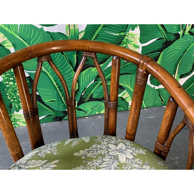 Brown Pair of Bamboo Club Chairs in the Style of McGuire For Sale - Image 8 of 12
