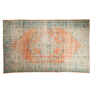 "Vintage Distressed Oushak Carpet - 5'9"" X 9'5"" For Sale"