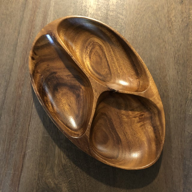 Mid-Century Modern Vintage Mid Century Modern Hand Carved Serving Tray For Sale - Image 3 of 9