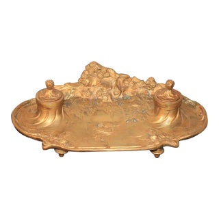 Antique French Art Nouveau Gilt Bronze Inkwell Signed A. Marionnet Depose For Sale