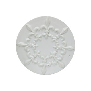 Mid-Century French Porcelain Fleur De Lis Trivet For Sale