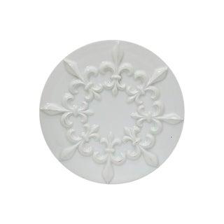Midcentury French Porcelain Fleur De Lis Trivet For Sale