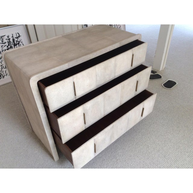 Animal Skin R & Y Augousti Natural Shagreen 3-Drawer Commode For Sale - Image 7 of 8