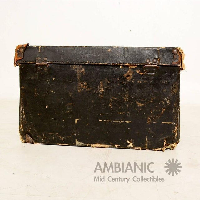 Early 20th Century Black Canvas Travel Case / Box With Leather Handle For Sale - Image 5 of 10
