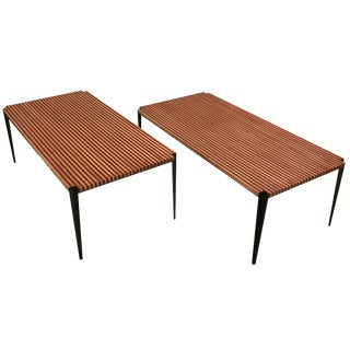 Osvaldo Borsani Pair of Large Cocktail Tables in Two Toned Wood and Steel For Sale