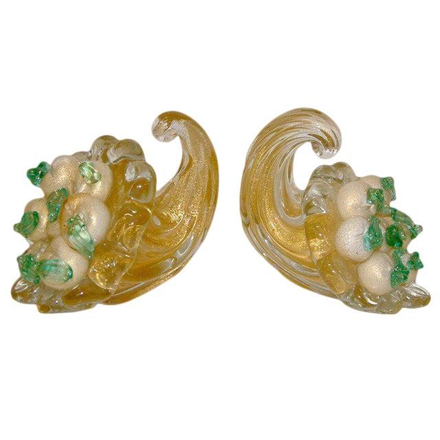 Circa 1940 Italian Murano Glass Cornucopia Bookends - A Pair For Sale