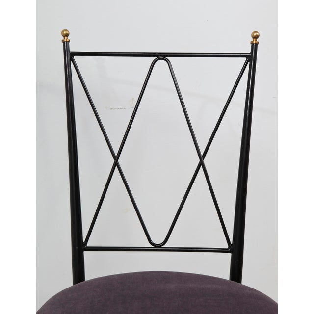 Metal Set of Six Wrought Iron Chairs With Brass Finials For Sale - Image 7 of 11