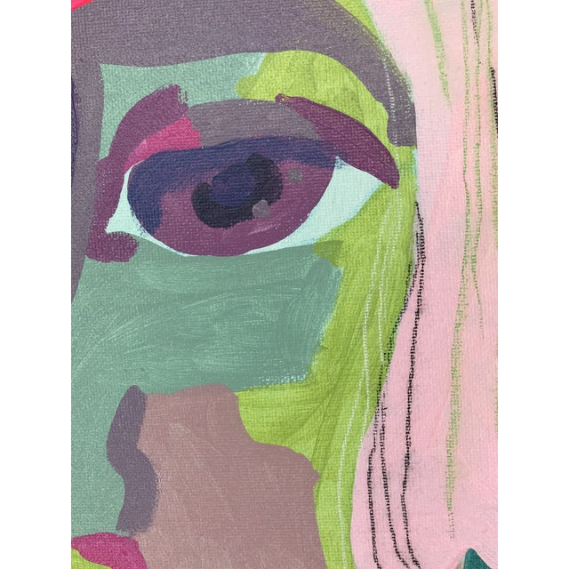 "Early 21st Century Contemporary Abstract Portrait Painting ""It Goes by Fast, No. 3"" - Framed For Sale - Image 5 of 10"