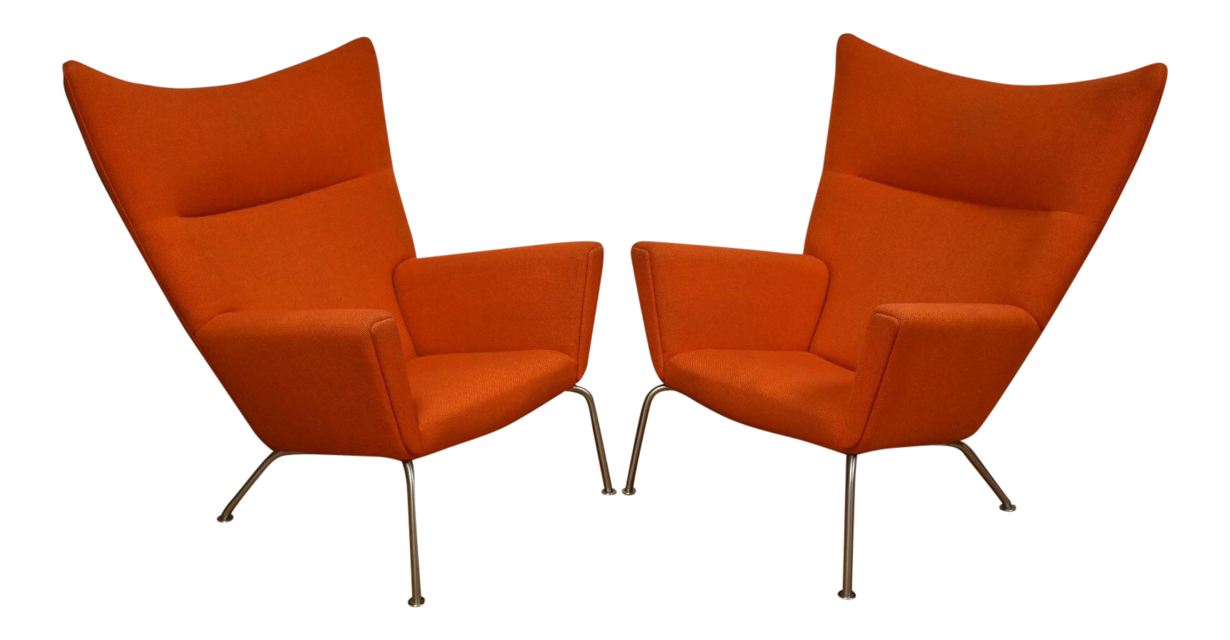 Hans J. Wegner CH445 Orange Lounge Chairs   A Pair