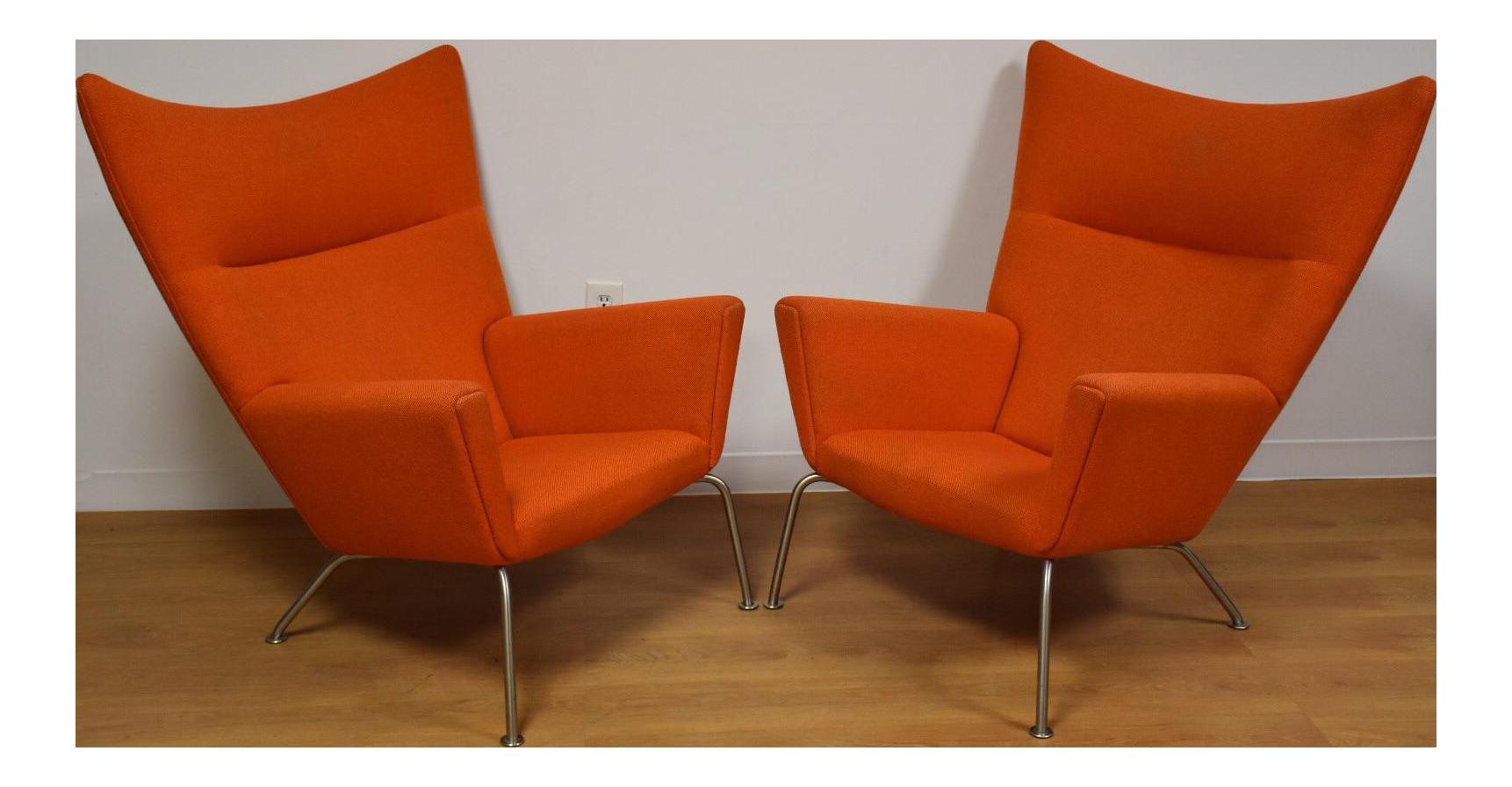 Hans J. Wegner CH445 Orange Lounge Chairs   A Pair