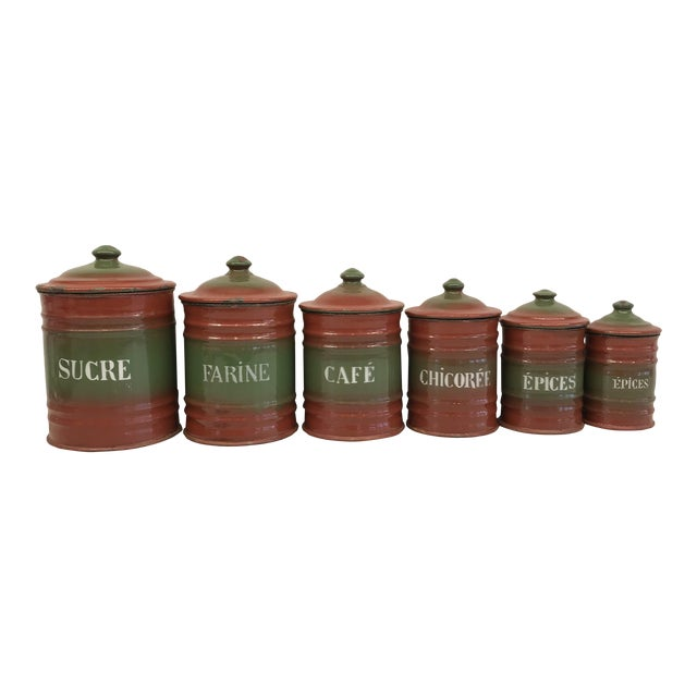 Vintage French Enamel Kitchen Canister Set Red/Green - 6 Pieces For Sale
