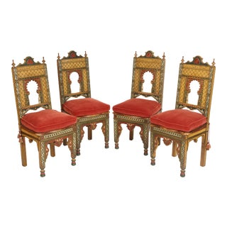 Middle Eastern Painted Side Chairs - Set of 4 For Sale