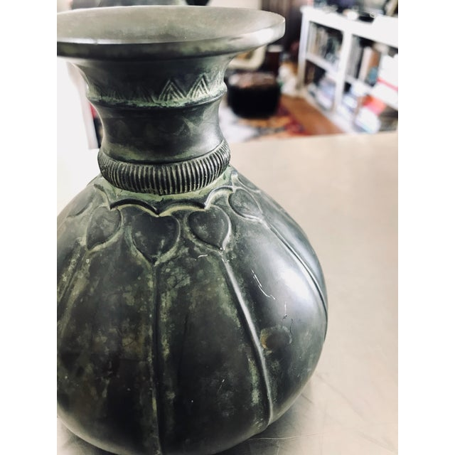 1930s 1930s Art Deco Just Andersen Danmark Heavy Metal Vase For Sale - Image 5 of 10