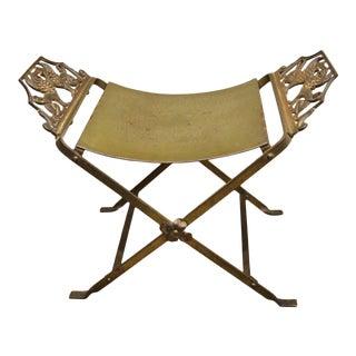 Wrought Iron Art Nouveau Gothic X-Form Bench Lion Griffins Gold Brass Finish For Sale