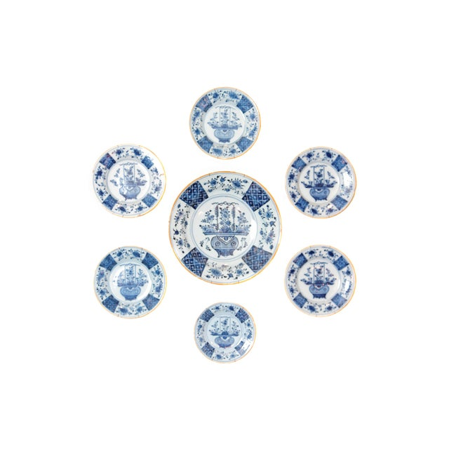 Chinese Flower Basket / Blue and White Delft Plates / Group of Seven For Sale - Image 13 of 13