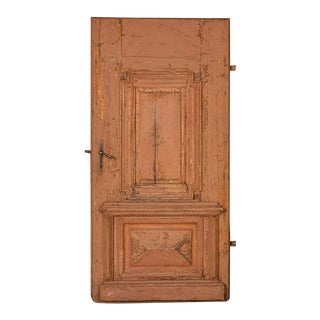 Antique Large Door With Heavy Paneling and Original Painted Finish For Sale