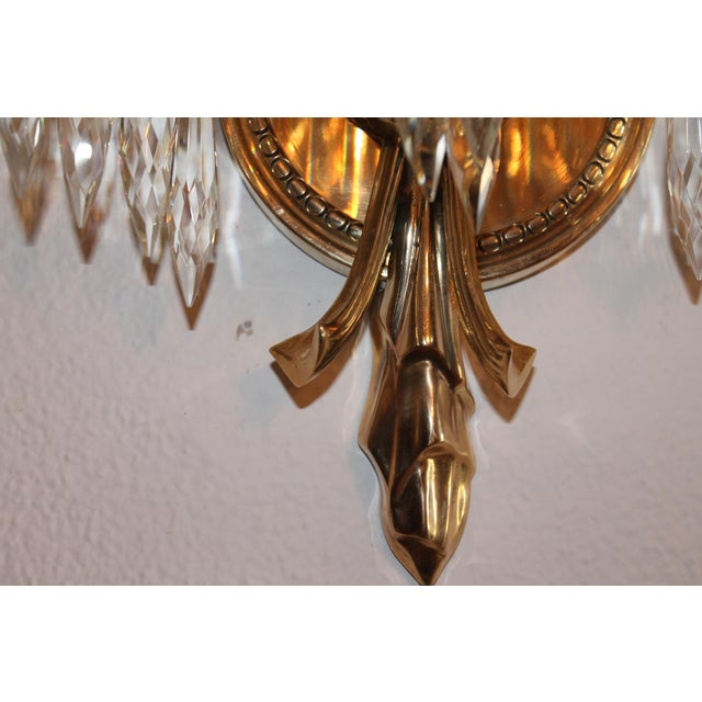1940's French Hollywood Regency Solid Cast Bronze Palm Sconces - a Pair For Sale - Image 9 of 11