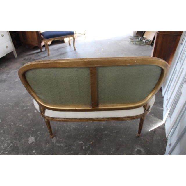 Gold Leaf Vintage 20th Century French Louis XVI Style Oval Back Settee For Sale - Image 7 of 9
