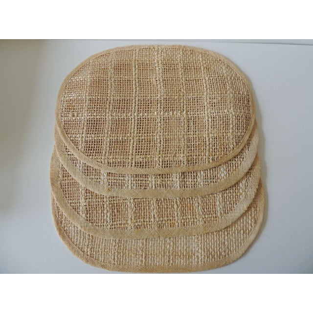 1980s Vintage Set of (4) Woven Hemp and Raffia Oval Placemats For Sale - Image 5 of 6