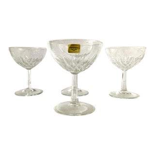 "Vintage 1970s French ""Luminarc"" Old Fashion Champagne Glasses - Set of 4 For Sale"