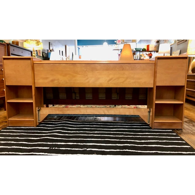 Mid Century Heywood Wakefield Full Size Headboard W/Attached Nightstands For Sale - Image 12 of 12