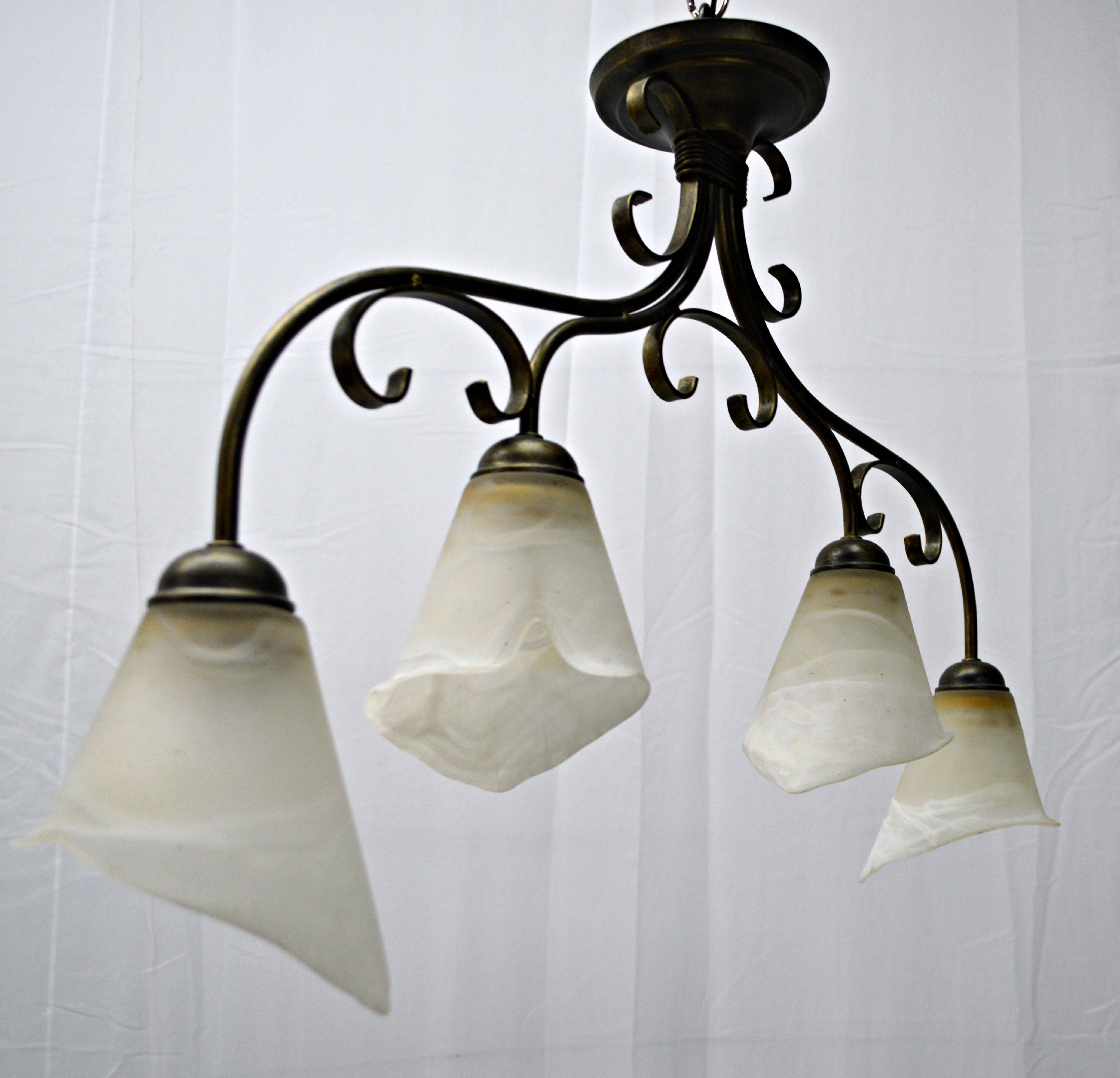 Cottage 4 Light Calla Lily Chandelier For Sale Image 3 Of 8