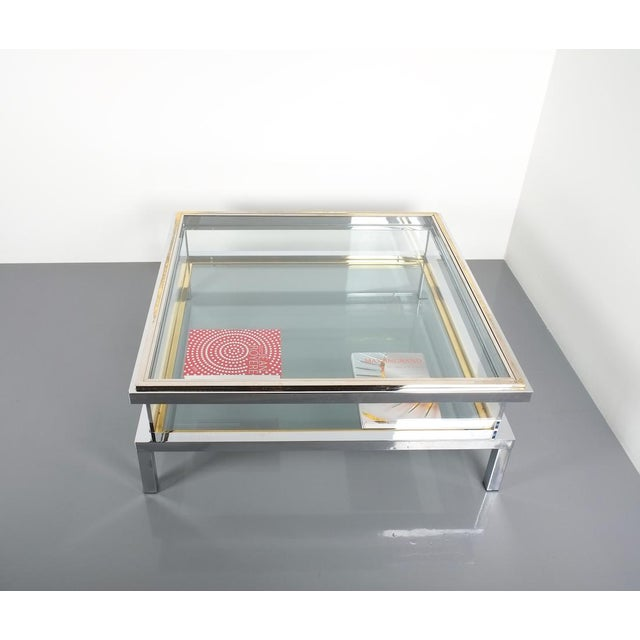 1970s Refurbished Large Maison Jansen Brass and Chrome Vitrine Coffee Table, 1970 For Sale - Image 5 of 12