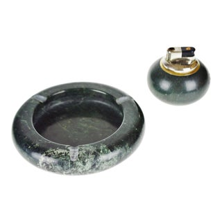 Vintage Green Marble Ashtray and Lighter Set