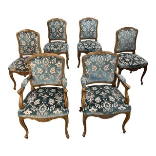 Set of 6 Antique Louis XV Dining Chairs Includes 2 Armchairs For Sale